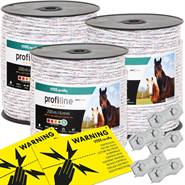Elrep 3-pack, 200m, 6x0,25 HPC ledare + 5st. repskarv + 2 varningsskyltar , VOSS.farming