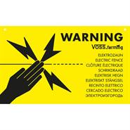 "Internationell varningsskylt "" Warning ELSTÄNGSEL/ELECTRIC FENCE"",  VOSS.farming"