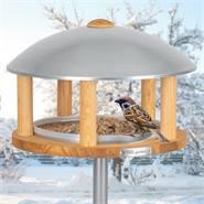 """Fågelbord """"Kolding"""" i trä, metalltak, inkl. stolpe, VOSS.garden"""