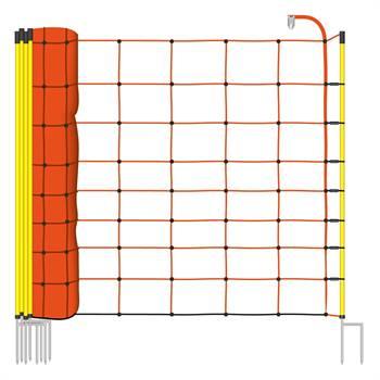 Fårelnät 50m x  90cm,  stolpar med 2 spetsar, orange,  VOSS.farming
