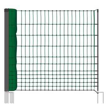 Hönsnät BASIC, stängselnät 25m x 112cm, dubbelspets, grön, utan el, VOSS.farming