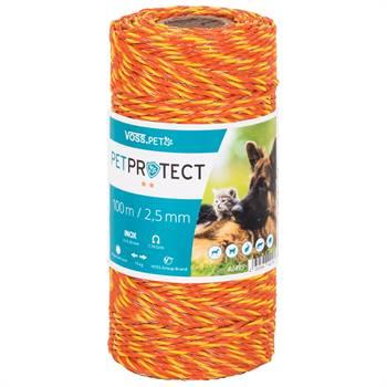 "Eltråd ""PETPROTECT"" 100m, 3x 0,20 rostfria ledare, orange, VOSS.farming"