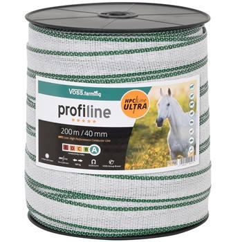 Elstängselband 200 m, 40 mm, 10 x 0,40 HPC/Ultra, vit-grön, VOSS.farming