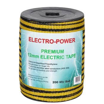 """Elband """"E-Power"""" 200 m, 12 mm, 7 x 0,2 rostfria trådar, gul-svart"""