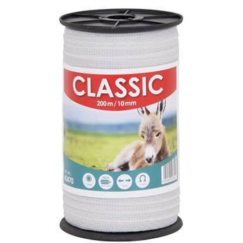 """Elstängselband """"CLASSIC"""" 200 m, 10 mm, 4 x 0,16 rostfria trådar, vit"""