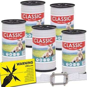 """Elstängselband """"CLASSIC"""" 200 m, 10 mm, 4 x 0,16 rostfria trådar, vitt 5-pack + 5 bandskarv +varnings"""