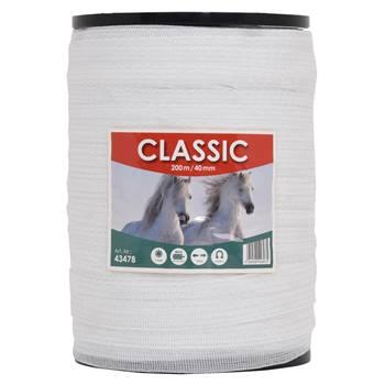 """Elstängselband """"CLASSIC"""" 200 m, 40 mm, 8 x 0,16 rostfria trådar, vit"""