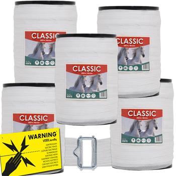 "Elband ""CLASSIC"" 200 m, 40 mm, 8 x 0,16 rostfria ledare, vitt, 5-pack, inkl. 5 x skarv + varningssky"