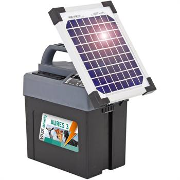 "Elstängselaggregat  ""AURES 3 SOLAR"" + batteri + solcellspanel 5W,  VOSS.farming"