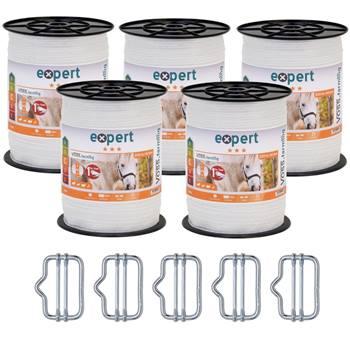 Elband 200m, 40mm, 9x0,16 rostfria ledare, inkl. 5 skarv + skylt, VOSS.farming, 5-pack
