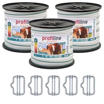 Elband 200m, 3-pack, 40mm, 4x 0,3 koppar + 6x 0,3 rostfria, vit-grön, 5 bandskarv + varningsskylt, V
