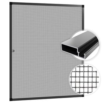 Myggnät inkl. ram, myggskydd till fönster, flugskärm, 120x140cm, antracit, SAMUFLY