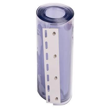PVC-remsa till plastridå, genomskinlig, 30 cm x 225 cm, 3 mm tjock, rostfritt skena