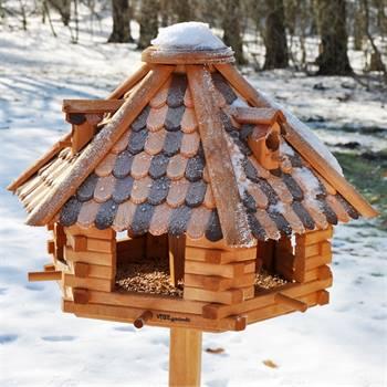 """Fågelhus """"Höstlöv"""" inkl. stolpe, 1,45cm, massivt trä, VOSS.garden"""