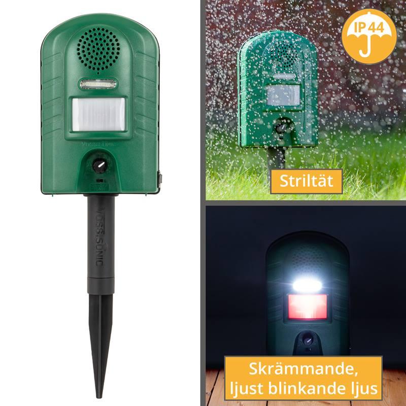 45343-4-djurskrämma-voss.sonic-2800-stänkskyddad, striltät, ip44-blinkande-ljus-IR-rörelsevakt-stati